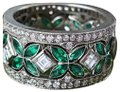 Handmade Three Rings In One Emerald And Diamond Stackable Set Platinum