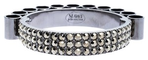 MAWI Retrospective Embedded Crystal Hematite Plated Tube Cuff Bracelet