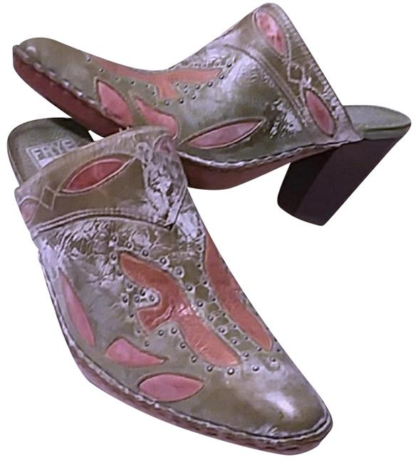 Item - Distressed Green and Tan Western Mules Boots/Booties Size US 6 Regular (M, B)