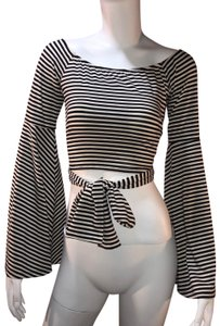 House of Harlow 1960 Striped Crop Top Black/Cream