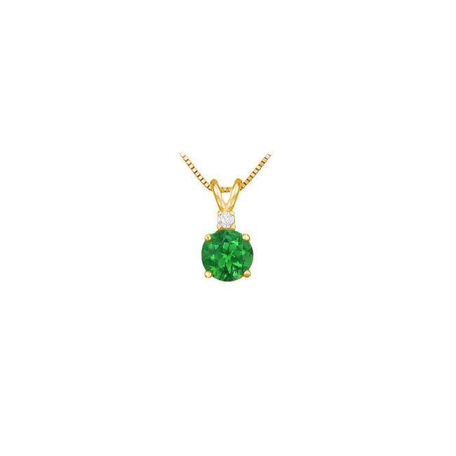 Green May Birthstone Emerald Round Pendant with Cubic Zirconia In Gold Verme Necklace Green May Birthstone Emerald Round Pendant with Cubic Zirconia In Gold Verme Necklace Image 1