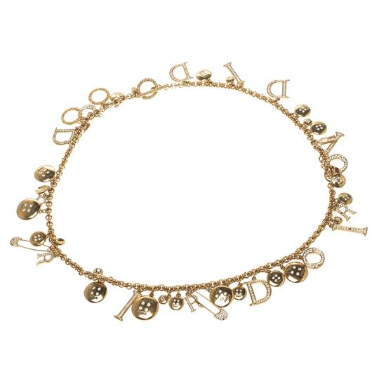 Dior Gold Christian Vintage Crystal Plated Chain Charm