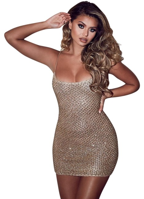 Item - Gold Drop A Glint Embellished Glitter Mini In Short Night Out Dress Size 4 (S)