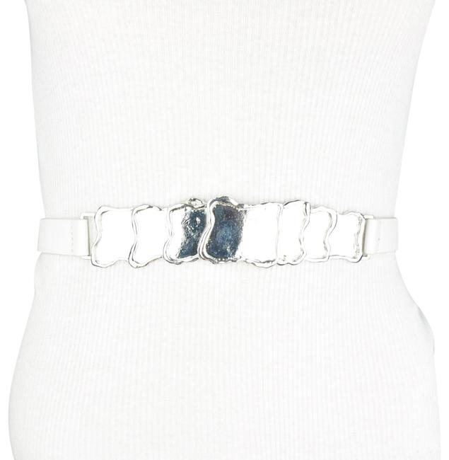 Unbranded White Faux Leather Mirror Belt Unbranded White Faux Leather Mirror Belt Image 1