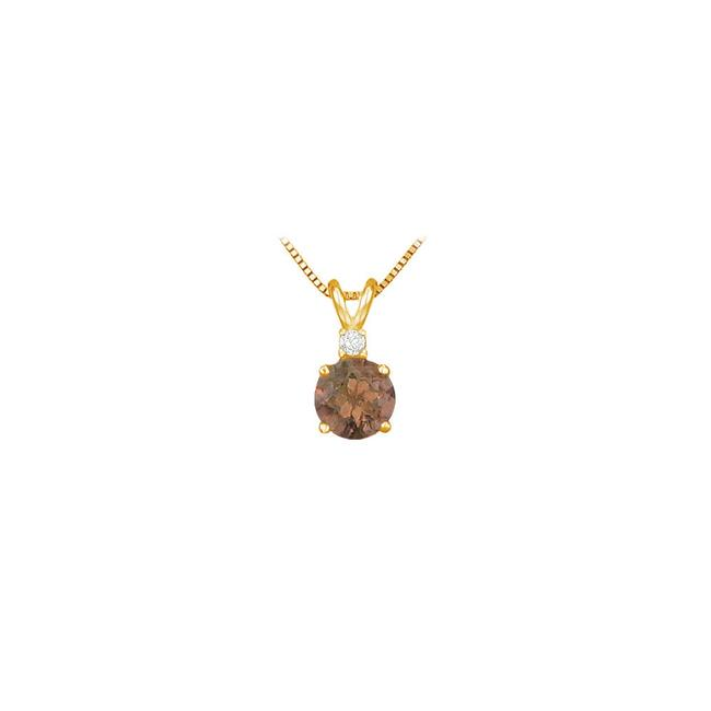 Brown June Birthstone Smoky Quartz Round Pendant with Cubic Zirconia In Gold Necklace Brown June Birthstone Smoky Quartz Round Pendant with Cubic Zirconia In Gold Necklace Image 1