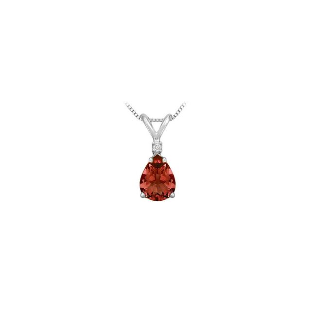Red January Birthstone Garnet Teardrop Pendant with Cubic Zirconia In 925 Necklace Red January Birthstone Garnet Teardrop Pendant with Cubic Zirconia In 925 Necklace Image 1