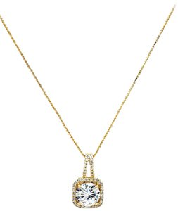 Ocean Fashion 925 Gold wild square crystal necklace