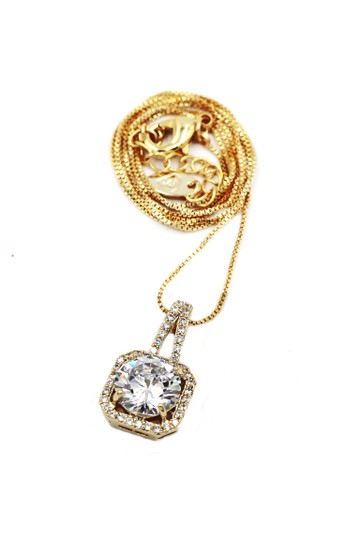Ocean Fashion 925 Gold wild square crystal necklace Image 1