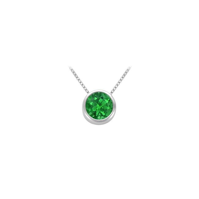 Green Created Emerald Bezel Set Solitaire Pendant 925 Sterling Silver 1.00 C Necklace Green Created Emerald Bezel Set Solitaire Pendant 925 Sterling Silver 1.00 C Necklace Image 1