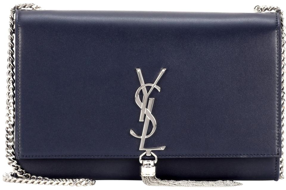 3f80e2f9884 Saint Laurent Monogram Kate Ysl Medium Monogram Crossbody Deep Marine  Leather Shoulder Bag