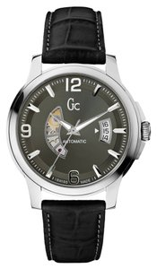 Guess Guess Collection Men's Black Leather Silver Tone Stainless Steel Automatic Watch X84003G5S