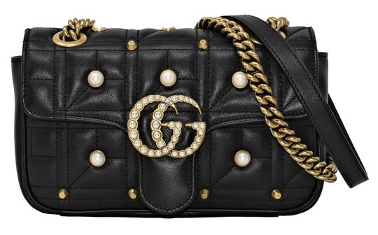 65d67673f25 gucci marmont 446744 gg pearly matelassé black leather shoulder bag 20% off  retail. TRADESY