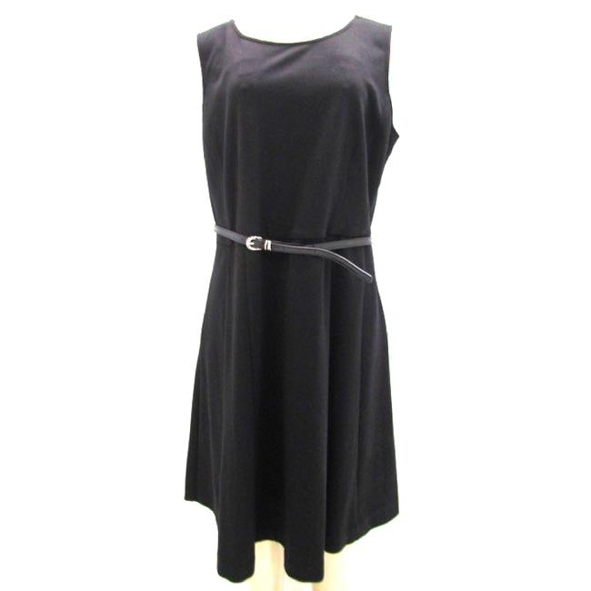 Item - Black Belted Lbd Mid-length Cocktail Dress Size 12 (L)