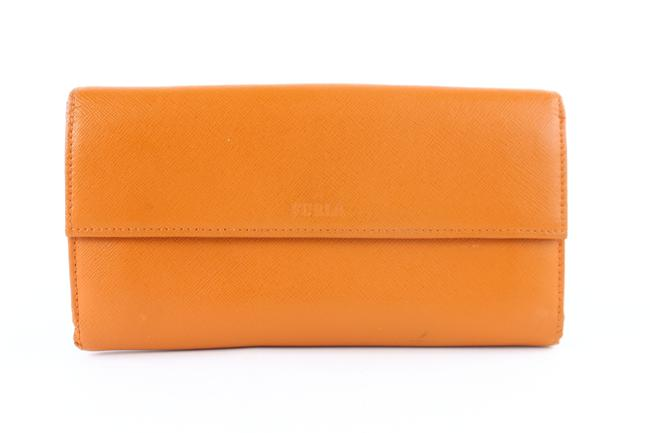 Furla Long Bifold Flap Wallet 859706 Orange Leather Clutch Furla Long Bifold Flap Wallet 859706 Orange Leather Clutch Image 1