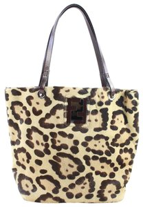 cd92cadce5 Fendi Leopard Cheetah Giraffe Calf Pony Tote in Beige