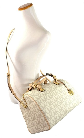 Michael Kors Leather Grayson Handbag Satchel in Vanilla Image 1