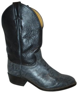 Justin Leather Western Cowboy Roper 005 blue & black Boots