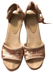 Circa Joan & David Espadrille Ankle Tie Sequin Neutral Wedges