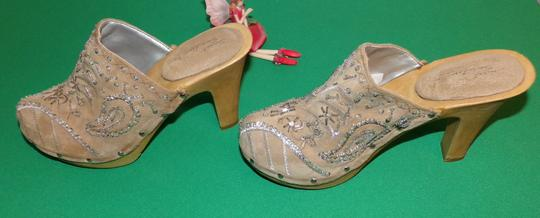 Sweet Seventeen Bling Faux Leather Leather Statement Beige Mules