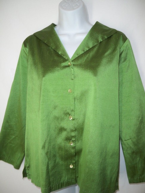 Eileen Fisher Iridescent Silk Sheen Button Down Shirt Green