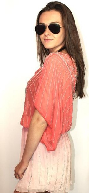 Parker Parker Beach Pink Beaded Beach Coverup - Size Extra Small / Small - Ne