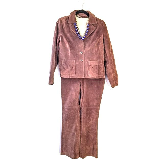 Preload https://item2.tradesy.com/images/margaret-godfrey-brown-suedeleather-pant-suit-size-8-m-23652366-0-0.jpg?width=400&height=650