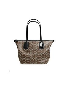 Coach Canvas Handbag Tote in Dark Nickel / Brown / Black
