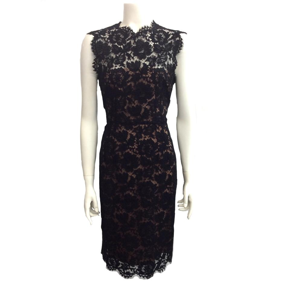 a4163c026f5f Valentino Black / Nude Guipure Lace Bow Mid-length Cocktail Dress ...