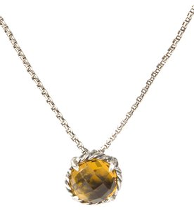 David Yurman Chatelaine Pendant Necklace with Citrine 8mm $350 NWOT