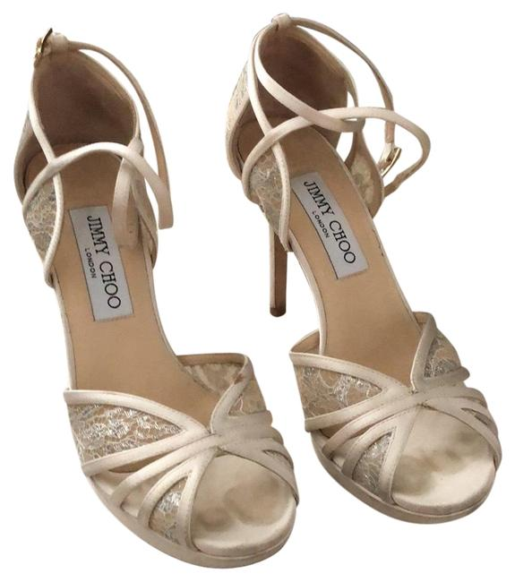 Item - White Ivory Fable and Satin Sandals Formal Shoes Size EU 35.5 (Approx. US 5.5) Regular (M, B)