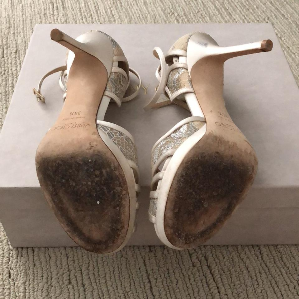 3e5714bf8b0 Jimmy Choo White Ivory Fable and Satin Sandals Formal Shoes Size EU ...