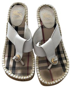 Burberry White Wedges