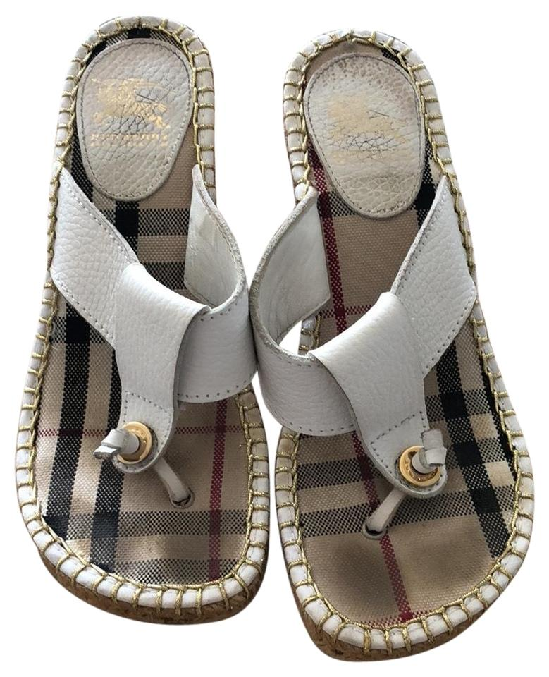 c405e27ffad4 Burberry White Pebbled Leather Nova Check Espadrille Thong Sandals Wedges