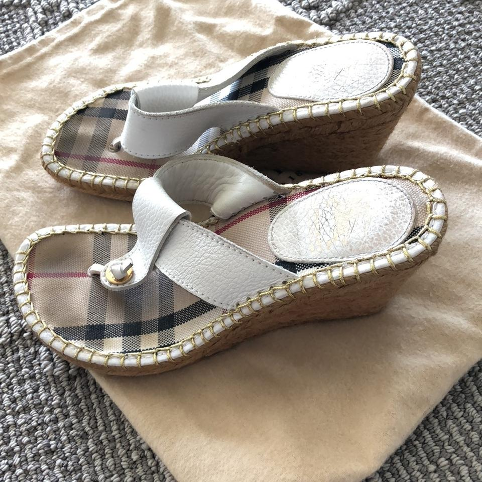 be25482c4003 Burberry White Pebbled Leather Nova Check Espadrille Thong Sandals Wedges  Size EU 36 (Approx. US 6) Regular (M