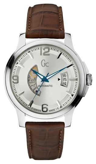Preload https://item2.tradesy.com/images/guess-collection-guess-collection-men-s-brown-leather-silver-tone-stainless-steel-automatic-watch-x84004g1s-2365336-0-0.jpg?width=440&height=440