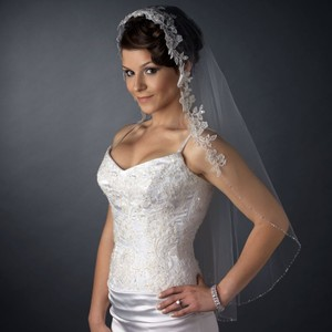 Elegance by Carbonneau White Or Ivory Medium Single Layer Fingertip Flower Embroidery with Bugle Beads & Sequins Bridal Veil