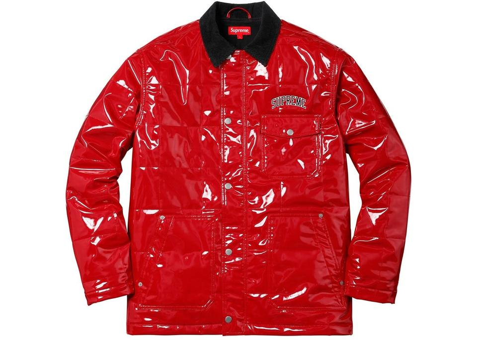 Supreme Red New Men S Quilted Patent Vinyl Work Ss18 Large