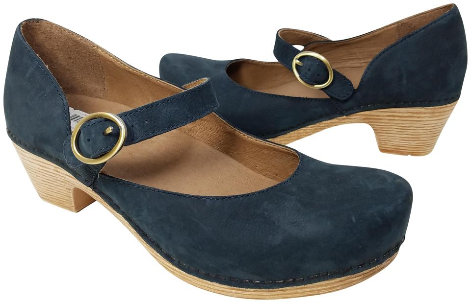 e8abb1ae0f Dansko Navy Missy Blue Milled Nubuck Leather Slip Mules Slides Size ...