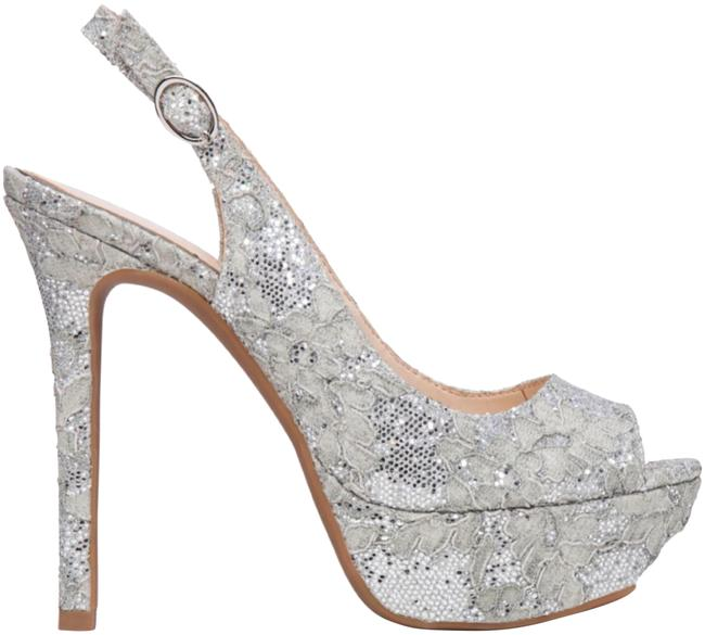 Item - Silver Tacey Glitter and Lace Heel Formal Shoes Size US 11 Regular (M, B)