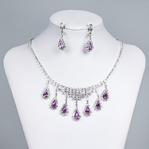 Fashion Jewelry For Everyone White Purple Elegant Porm Rhinestone Earrings Set Necklace