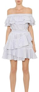 Designers Remix short dress white Blue Stripes on Tradesy