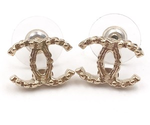 Chanel Chanel Gold CC Mini Ball Texture Piercing Earrings