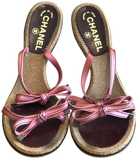 Item - Pink and Burgundy Bow Sandals Size EU 38 (Approx. US 8) Regular (M, B)