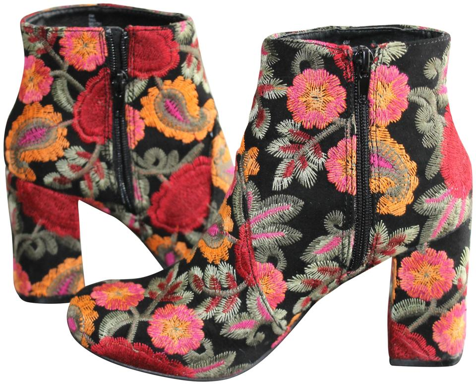 f6a7a963ddd9 MIA Round Toe Embroidered Chunky Heel Ankle Floral Boots Image 0 ...