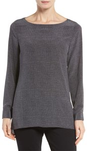 Eileen Fisher Tunic Silk Sleeve Crepe De Chin Top Charcoal