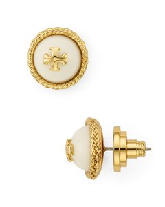 Tory Burch NEW TORY BURCH PEARL ROUND LOGO GOLD STUD EARRINGS DUST BAG NWT