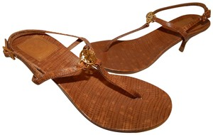 Tory Burch Medallion T-strap Leather Brown Sandals