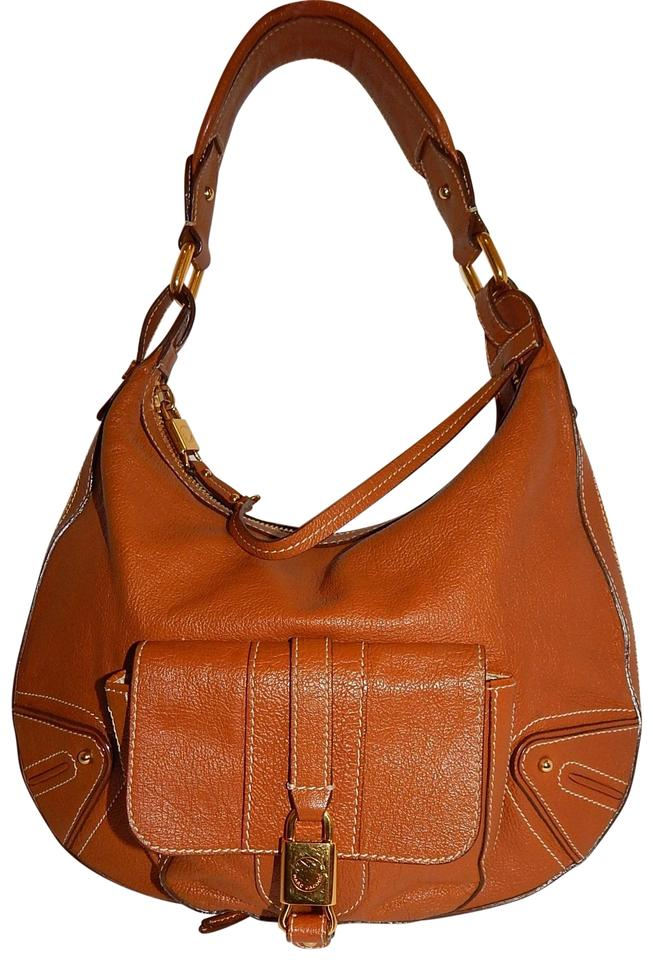 Marc Jacobs Sienna Whiskey Top Zip Expandable Shoulder Brown Leather ... bff288bc573f7