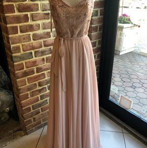 Mori Lee Blush Chiffon 20471 Formal Bridesmaid/Mob Dress Size 6 (S)
