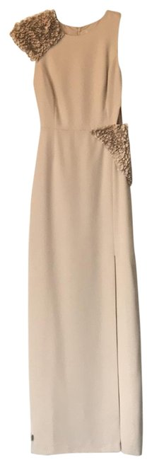 Halston Nude Gown Long Formal Dress Size 0 (XS) Halston Nude Gown Long Formal Dress Size 0 (XS) Image 1